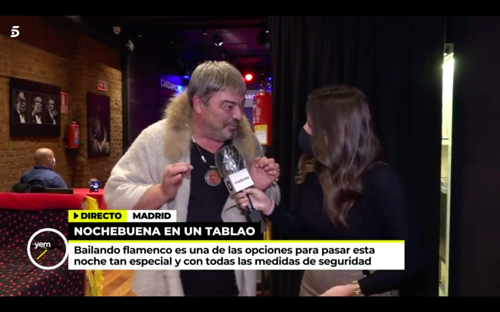Tele 5 en Cardamomo Flamenco Madrid con Antonio Canales