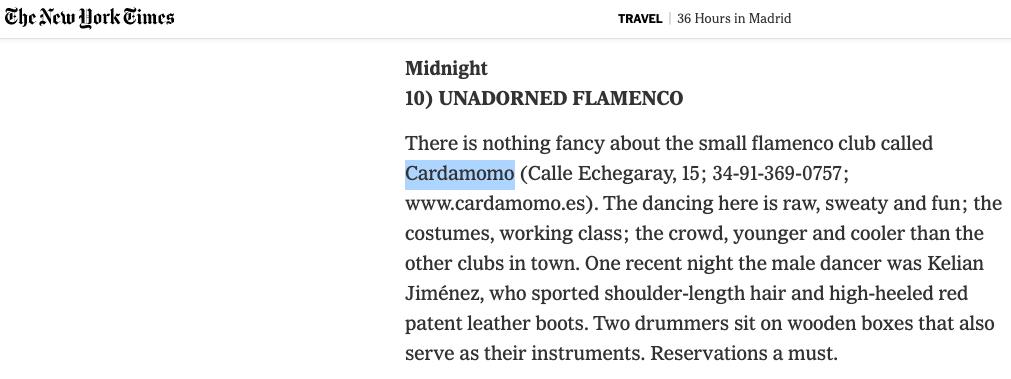 NYT en Cardamomo Flamenco Madrid